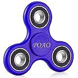 Fidget Spinner,POAO Inger Tri-Spinner Portátil Fidget Trabajo Ultra Rápido Rodamientos Juguete de Dedo Bueno Para Aliviar el Estrés ADHD EDC Tiempo de Matar a Mano (Azul)