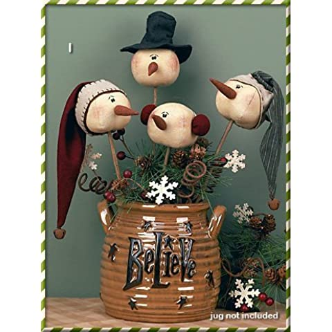 Christmas Primitive Country Whimsy Rolly Polly Snowman Wand Set by Honey and Me - Whimsy Snowman