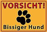 Vorsicht bissiger hund warnschild schild aus blech, metal sign, tin sign