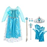 Vicloon Ice Queen Prinzessin Kostüm Kinder Deluxe Fancy Blaues Kleid,Accessoires und Schuhe für Mädchen, Weihnachten Verkleidung Karneval Party Halloween Fest