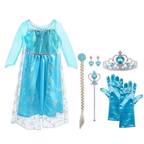 Vicloon Ice Queen Prinzessin Kostüm Kinder Deluxe Fancy Blaues Kleid,Accessoires und Schuhe für Mädchen, Weihnachten Verkleidung Karneval Party Halloween Fest,5 Pcs Elsa Kleid Sets,3-4 Jahre Size 110 (Körpergröße ()