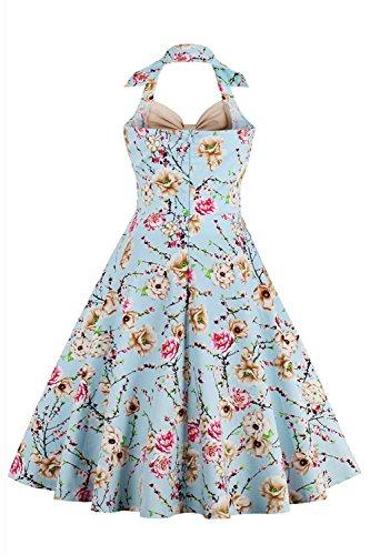 Babyonline Damen 60er Neckholder Retro Rockabilly Kleid Partykleid  Cocktailkleid geblümt Knielang GrS~4XL Blau