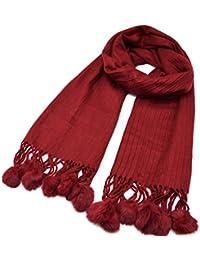 4460fdf95478 Oh My Shop PSV142 - Echarpe Longue Laine Unie avec Fronces et Franges  Pompons Fourrure (