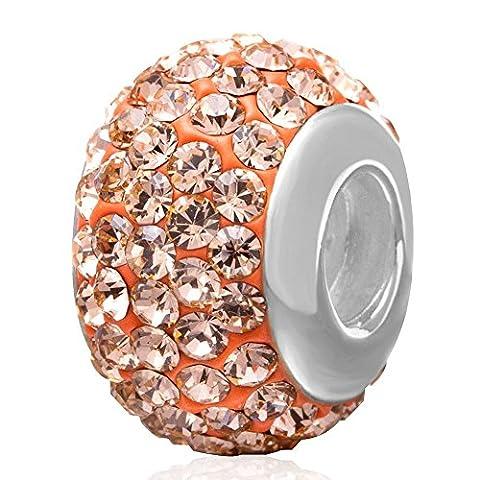 JAN-DEC Birthstone Charms Sparkling Cristal Autrichien Elements Argent sterling 925filetée Core Perles pour européenne Compatible bracelet Bijoux Light Peach Clear Crystal