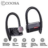 COOSA True Stereo Wireless Headphones, Bluetooth 4.1, auricolari intrauricolari wireless con microfono in-ear, sicuro e sportivo (nero)