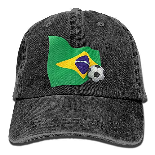 Brazil Flag with Soccer Ball Washed Vintage Adjustable Jeans Hat Baseball for Man and Woman