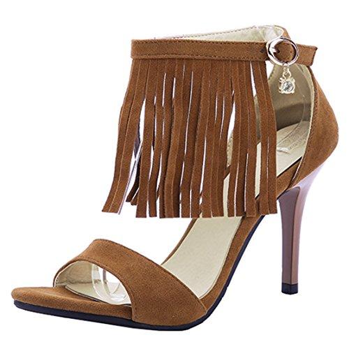 AIYOUMEI Damen Wildleder Knöchelriemchen Sandalen mit Fransen Stiletto High Heels Sommer Schuhe Braun