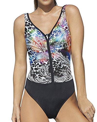 Sunflair Badeanzug, Animal-Paisley Print schwarz 44E (Badeanzug Animal-print)