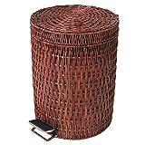 Wrash puede La basura del paso puede,Ratán y mimbre Movible Papelera en casa y cocina Lata de basura con tapa Ronda can-H