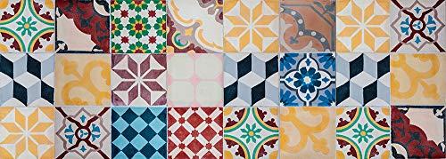 VINILIKO Vintage Tiles Alfombra de Vinilo, Multicolor, 50x140