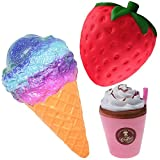 Slow Rising Squishies UK Jumbo Scented Squishy Squeeze Toy Stress Reliever Gift (Ice Cream + Cofee + Strawberry)