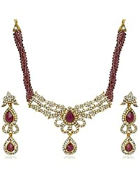 DeAaaStyle Gold Plated Necklace Set For Women Traditional Jewellery Maroon