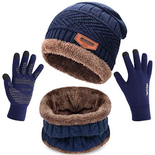 Petrunup berretto invernale sci scaldacollo e guanti touch screen, slouch beanie snood guanti a maglia uomo donna, blu scuro