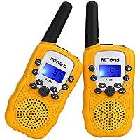 Retevis RT388 Walkie Talkies Niños PMR446 8 Canales LCD Pantalla Linterna Incorporado VOX 10 Tonos de Llamada Walkie Talkie Niñas Juguete Regalo para Niños (Amarillo, 1 Par)