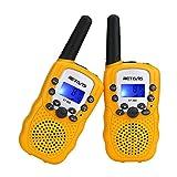 Retevis RT388 Walkie Talkies Niños PMR446 8 Canales LCD Pantalla Función VOX 10 Tonos de llamada Bloqueo de Canal Linterna Incorporado (Amarillo, 1 Par)