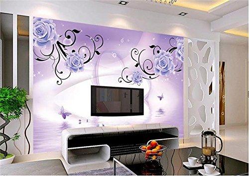 Preisvergleich Produktbild Whian 3D Tapete Wandbild Wohnzimmer Schlafzimmer Dekoration Wandtattoo Lila Rose Reflexion Schmetterling Tv-Malerei Bild Wand-Aufkleber 200Cmx140Cm / 78.74(In) X55.11(In)