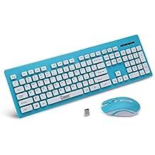 Teclado Inalámbrico X1600 Con Ratón Para PC Ordenador Loptap ( Color : Azul )