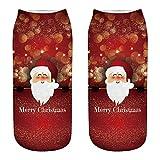SEWORLD Weihnachten Komfortable Unisex Weihnachten Lustig 3D Mode Beiläufig Socken Gedruckt Niedliche Low Cut Söckchen mit kurzen Söckchen Dicker Anti Rutsch N4
