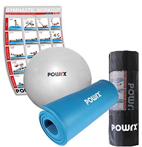 Fitness set powrx - palla ginnica colore argento da 75 cm e tappeto fitness colore blu 190 x 60 x 1,5 cm