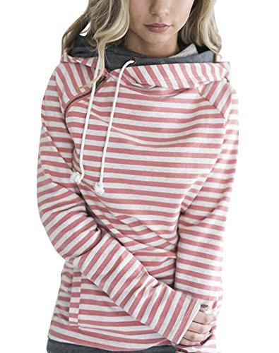 Minetom Damen Herbst Winter Mode Streifen Kapuzenpullover Lässig Couleur Epissure Pulli Sweatshirt Rollkragen Tops Hoodies A Rosa DE 38 -