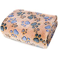 Allisandro® Premium Fluffy Durable Dog Blanket, Soft Warm and Washable Fleece Cat Puppy Throw for Small Medium Large Pet, Coffee 100 x 80cm