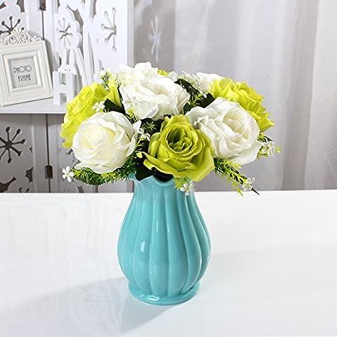 Maivas Décoration Vase en céramique Style européen Fleur Rose De