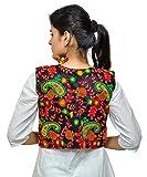 Banjara Women's India Poly Cotton Embroidered Ethnic Kutch Work Shrug (Black, Free Size)