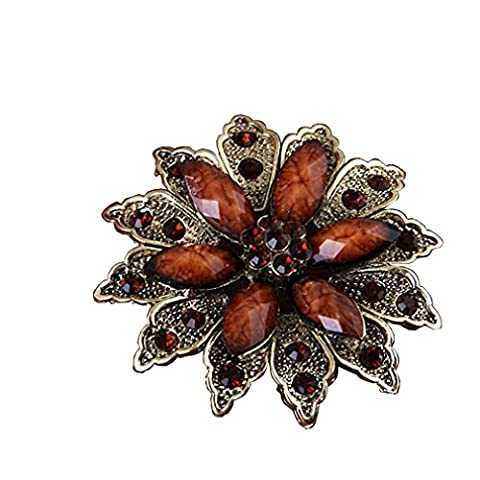 Yazilind Vintage Silver Plated Brown Flower Crystal Korean Brooch Pin For Women
