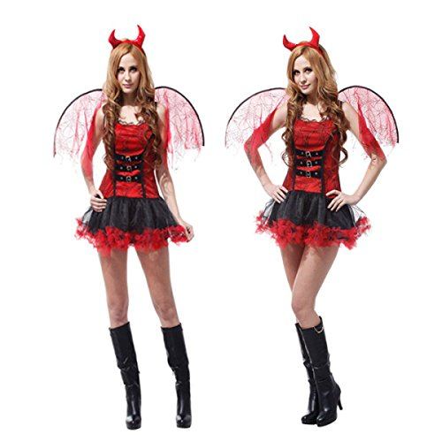 Nihiug Halloween Cosplay Performance Kostüm Masquerade Red Magic Kostüm Dark Sexy Dämon Kostüm Erwachsene Streich Kürbis Tier Big Beine,A (Masquerade Witch Erwachsene Kostüme Damen)
