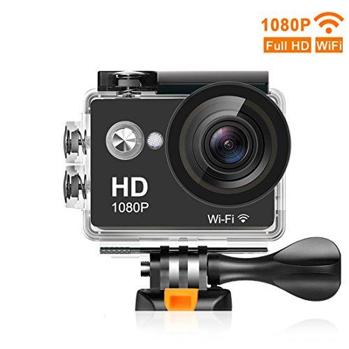 Mbylxk Action Cam 1080P HD 12 MP 170 Ultra-Weitwinkel, WIFI 2,0 Zoll, Wasserdicht mit kostenlosem Accessories-Kit