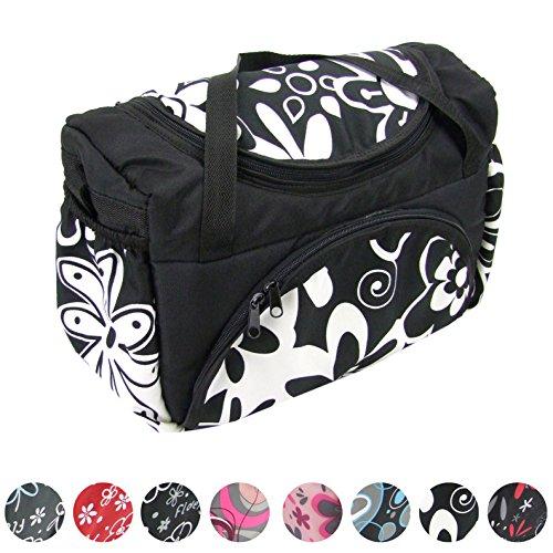 BAMBINIWELT Wickeltasche für Kinderwagen, Kinderwagentasche + Wickelunterlage (Schwarz große weiße Blumen)