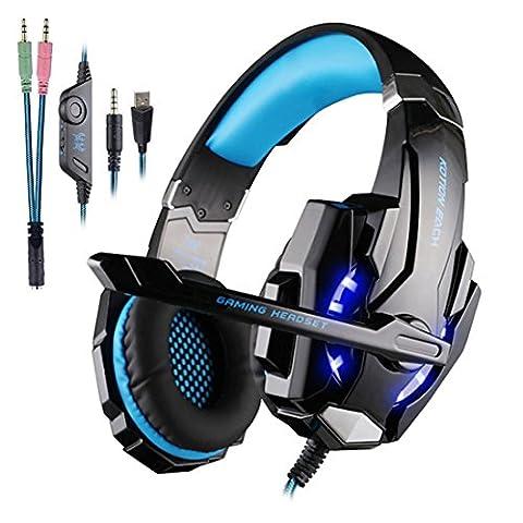Gaming Headset PS4,Rixow G9000 Pro Gaming Kopfhörer mit Mikrofon 3.5mm On-Ear Surround Sound Ohrhörer und Einstellbare Bass-Stereo Lautstärkeregelung für PlayStation 4 Xbox One Tablet PC (Einstellbare Einstellung)