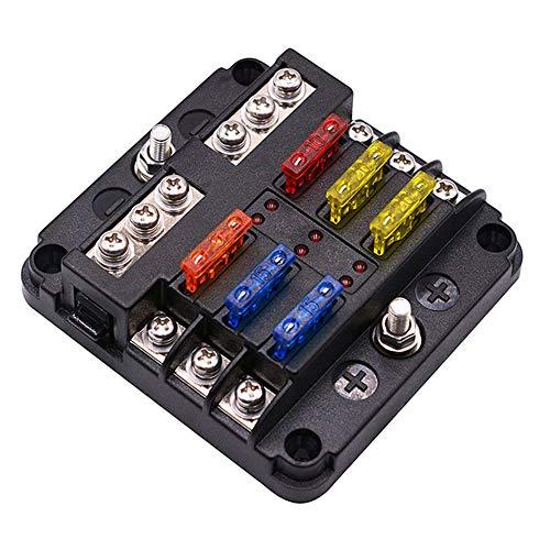 Man9Han1Qxi 6 Way 12V 24V Auto Power Distribution Blade Sicherungshalter Box Block Panel Board Marine Distribution Panels