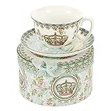 Vintage Porzellan Teetasse mit Untertasse in Geschenksverpackung - Englische Teetasse - Teetasse bunt - Geschenkbox