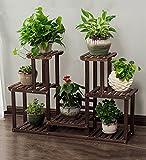 ZENGAI Blumentopf Rack Multilayer Innen Massivholz Pflanzen Ausstellungsstand Regal Leicht Zu Bewegen, Räder/Ohne Räder (Farbe : B, größe : 110X71CM)