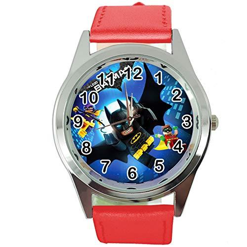 Reloj Redondo de Cuarzo para niños, Correa de Piel roja de Taport