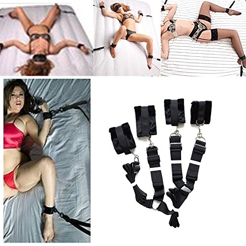 Lubido kit de Bondage Poignets Menottes Attache au Lit Sangle Réglable en Velours Jeux Adultes