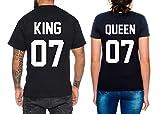 Partner Look Pärchen T-Shirt Set King Queen für Pärchen als Geschenk, Farbe:Schwarz;Größe:Damen Gr. S + Herren Gr. L