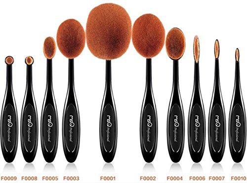 Makeup Pinsel Set MSQ 10pcs Professional Oval Makeup Pinsel Zahnbürste Design Pinsel Mehrzweck Pinsel Kits(Eigenschaften Puder, Concealer, CONTOUR, Foundation, Mischen, Augenbrauen, Eye Liner-Pinsel) -