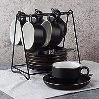 Juegos de Tazas Café Porcelana - 6oz Set de Regalo de Relieve con Borde Dorado Juegos
