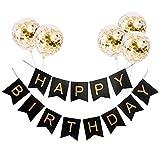 AOLVO Happy Birthday banner con 5pezzi Gold confetti Dots ghirlanda di bandierine palloncini, Fit, festa di compleanno decorazioni Nero