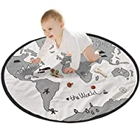 Baby Creeping Mat Baby Infant World map Playmat Blanket Play Game Mat Room Decoration Round Crawling Activity Pad Carpet Floor Home Rug