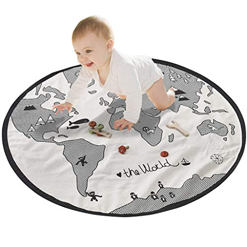 Baby Play Matte, weiche Canvas Baumwolle Weltkarte Spielteppich Decke Krabbeldecke Rund Activity Pad Teppich Boden Teppich für Home Kids Dekoration Schlafzimmer