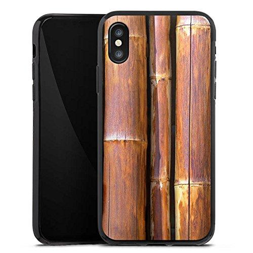 Apple iPhone X Silikon Hülle Case Schutzhülle Bambus Bambusrohr Braun Silikon Case schwarz