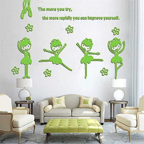 3d Acryl Dance Room Zeichentricksticker School Kindergarten Kindergarten-Zimmer-Dekoration kann wasserdichten Wandaufkleber entfernen 150 * 108cm grün