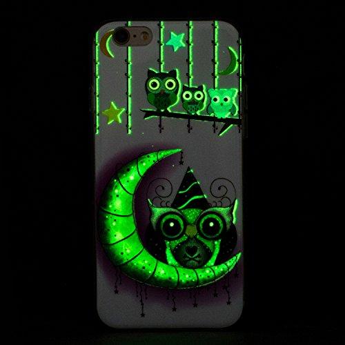 Coque iPhone 6 , iPhone 6S Etui TPU , CaseLover Cerf Motif Mode Night Etui Coque TPU Slim pour Apple iPhone 6 / 6S (5.5 pouces) Mode Flexible Souple Soft Noctilucent Case Couverture Housse Protection  Owl