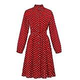 Berimaterry  Robe Vintage Femme Robe à Manches Longues Imprimée à Pois Robe à Col Tailleur Robe Bohème Fête Soirée Dansante Banquet Femme éLégante Chemise Jupe Plissée Robe en Ligne