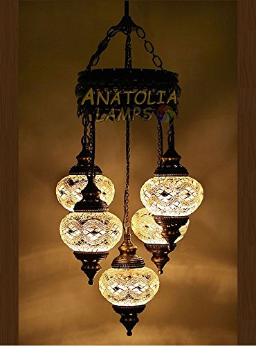(Choose from 12 Designs) Turkish Moroccan Mosaic Glass Chandelier Lights Hanging Ceiling Lamps (Large - 3 )