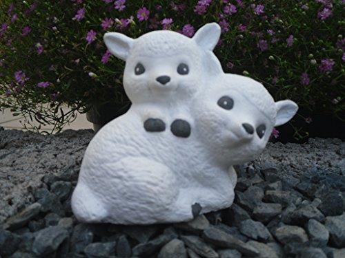 Steinfigur Schaf, 140 Schäfchen, Gartenfigur Steinguss Tierfigur Weiß