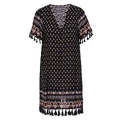 HEYME Boho Dress Casual Knee Length Dress Bohemian Style Swing Summer Loose Dress Short Sleeve V Neck Tassel Hem Pattern Plus XXL